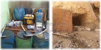 ضبط مسجل خطر لقيامه مع خمسة أشخاص فى أعمال حفر بإحدى المناطق الصحراوية بقنا بقصد التنقيب عن الآثار